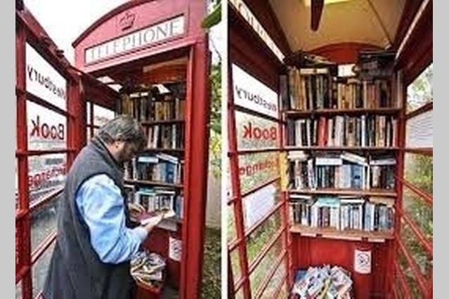 An unusual use of an old phone box in the village. You won't run out of reading matter!