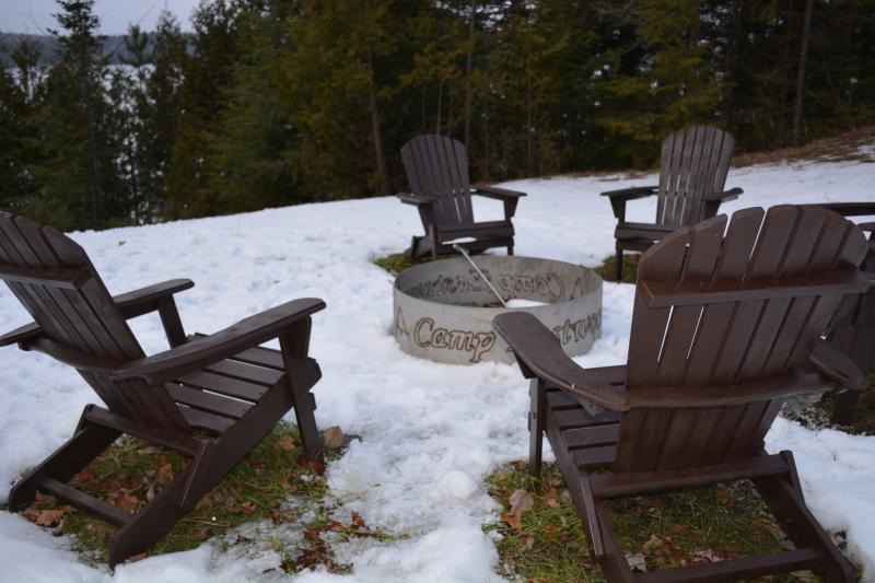 Fire pit with lake view, 14 Adirondack chairs, wood available, great times at night with s'mores.