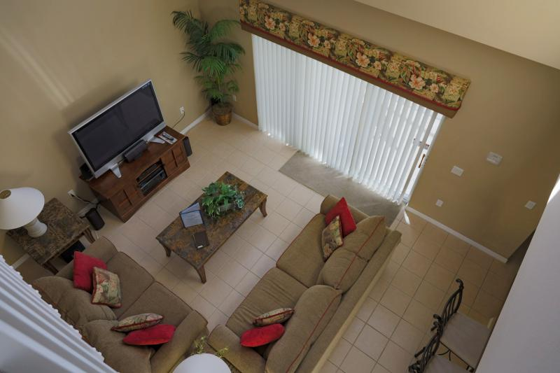 View from second floor to main living room