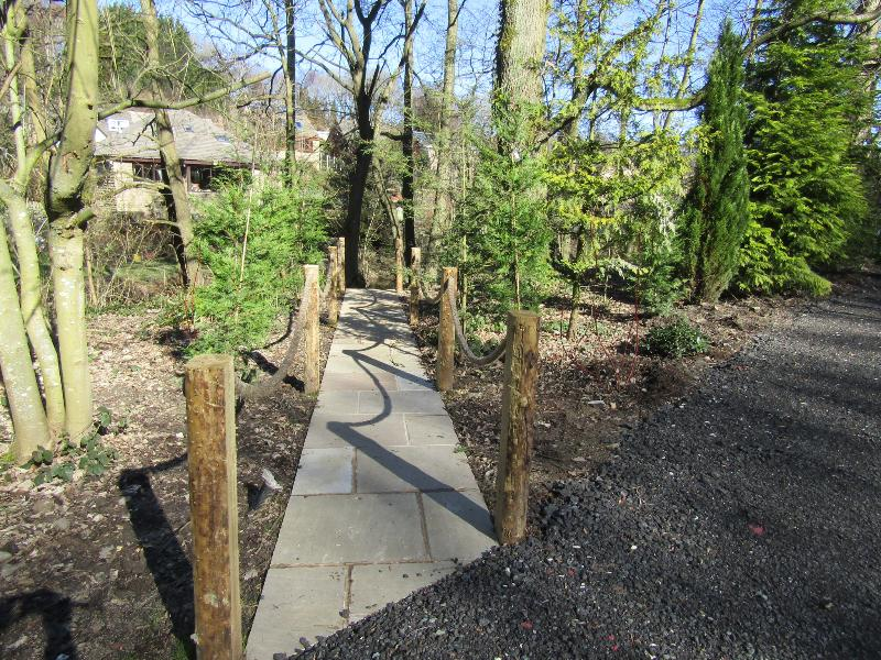 Private pathway to riverbank