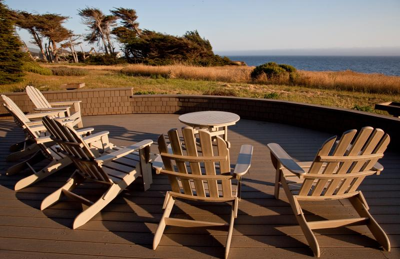 The spacious 1,600 sq. foot deck has room for everyone to stretch out and relax.