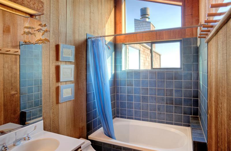 Even the guest bathroom's shower features stunning ocean views!