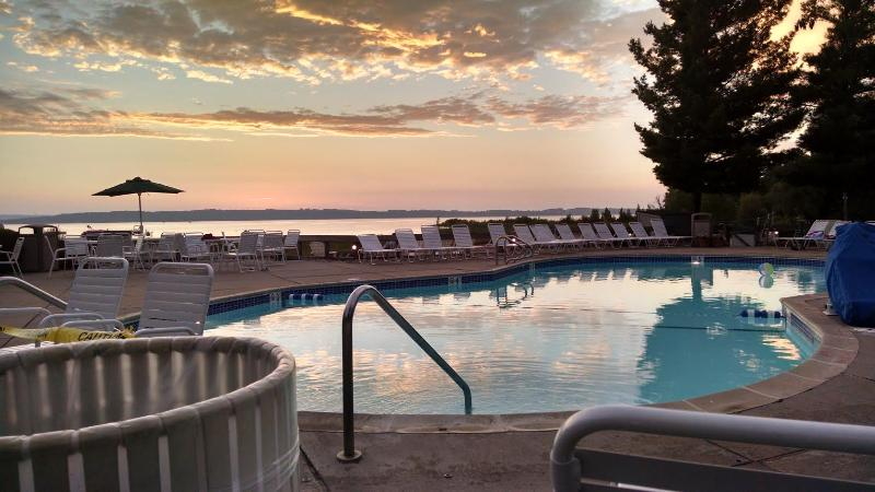 Beautiful evening, poolside, over looking the Bay