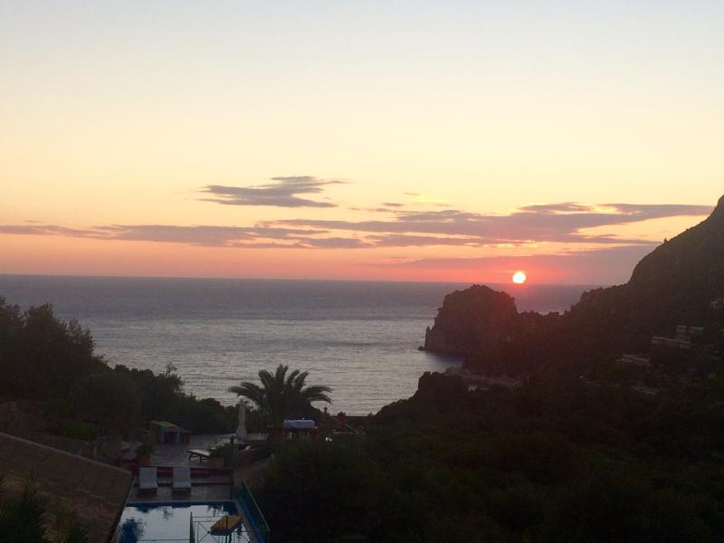 sunset in Ermones Villas
