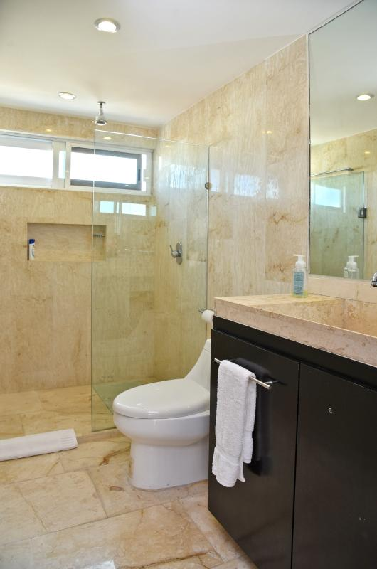 master bathroom with marbel from floor to ceiling