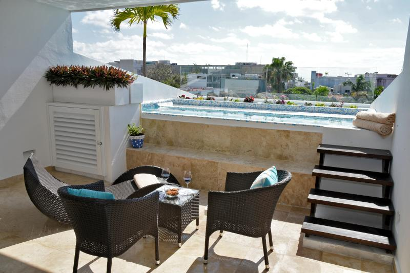 Perfect Terrace to relax for a nice meal and drink with your private plunge pool