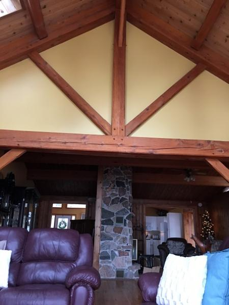 Post & beam construction, mostly pine floors and walls