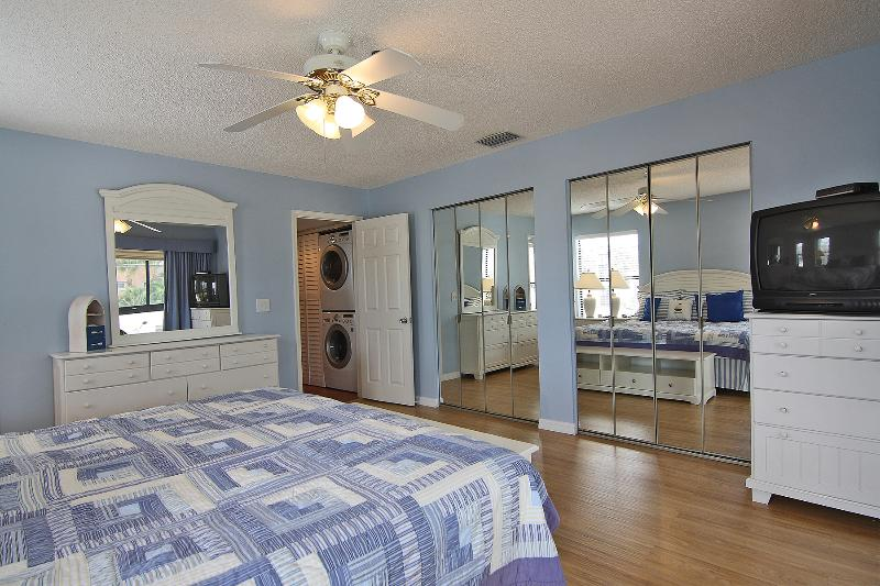 Master bedroom, lots of wardrobes. And nowadays a flat screen TV.