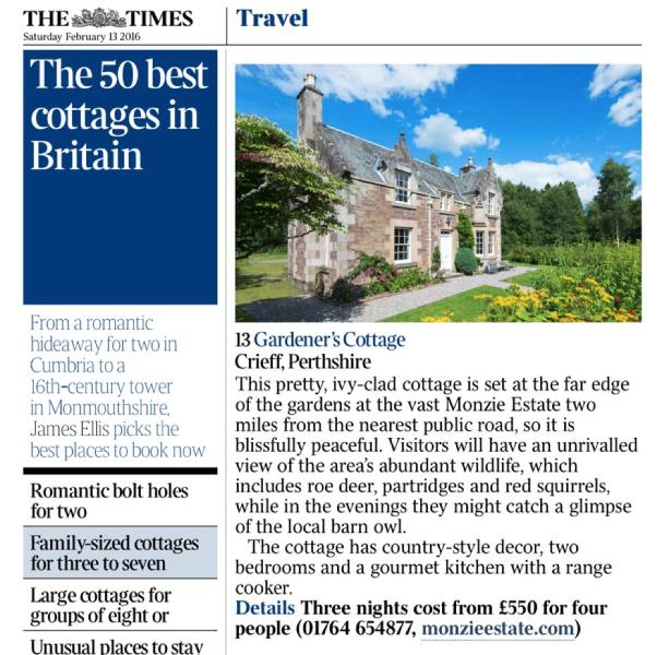 Listed in The Times '50 best cottages in Britain' in 2016