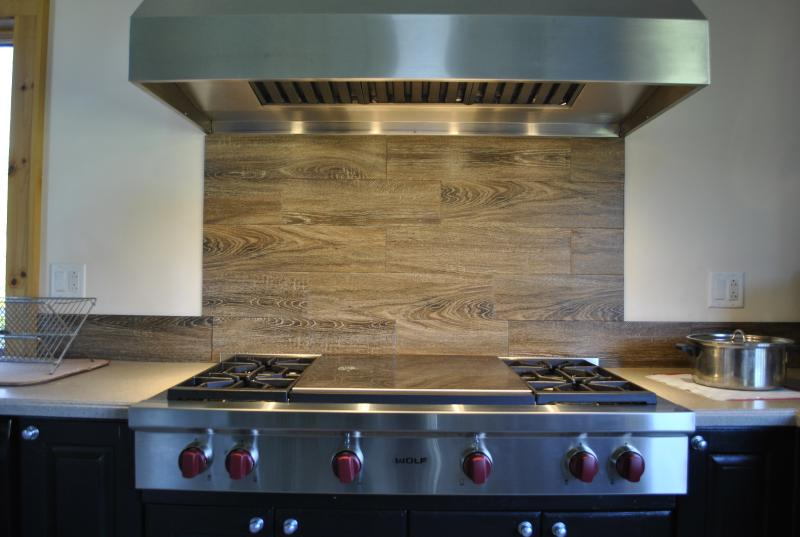 New in 2015, this awesome Wolf rangetop has 4 big burners and a double griddle-best pancakes ever!