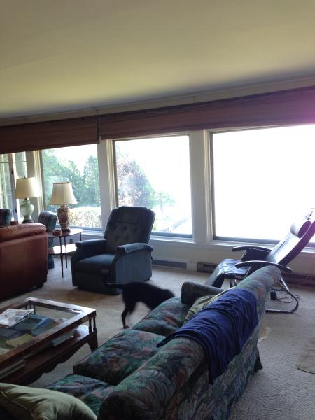 Large living room windows - fantastic view of the lake & great for watching any summer thunderstorms