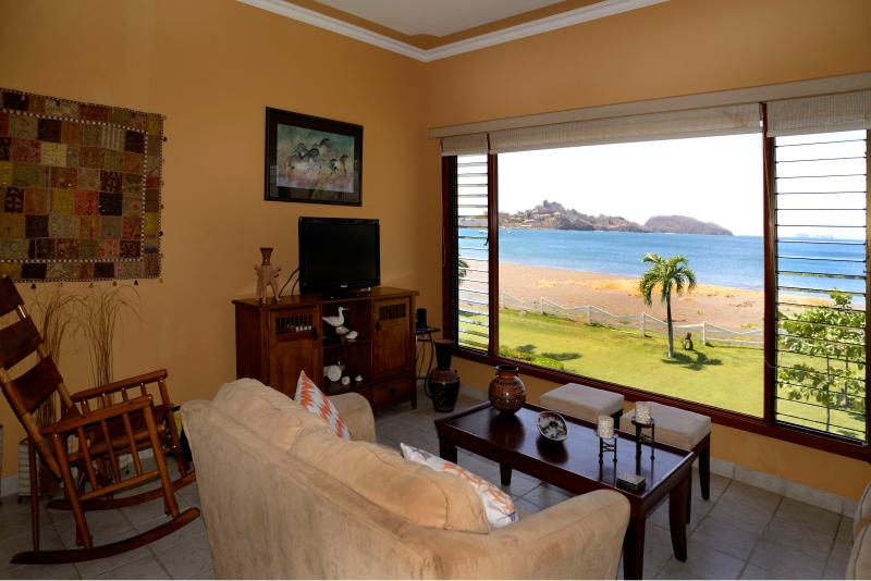 Our fantastic beachfront living room view of Playa Potrero!
