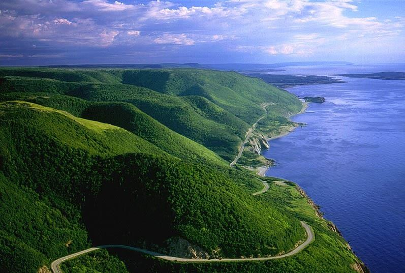 Cape Breton Highlands National Park with Cheticamp and the Island in distance.
