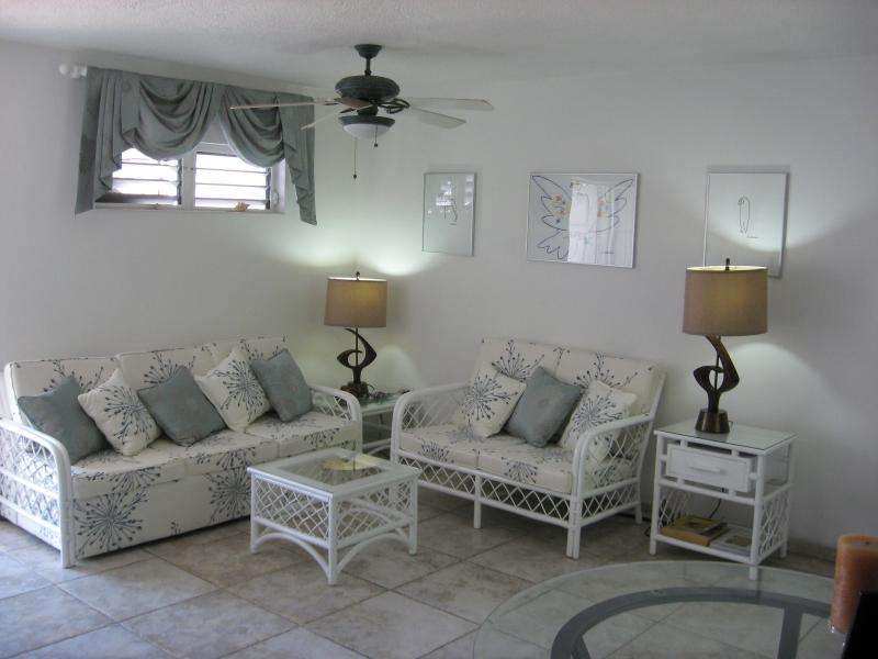 Lounge with three seater settee (converts  fully sprung sofa bed).ceiling fan above