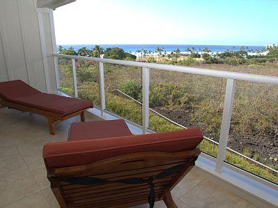 Upstairs private lanai with unobstructed views, privacy and comfortable teak lounge chairs.