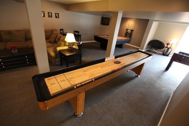 Shuffleboard, Pool Table, Foosball Table, Roll-A-Score