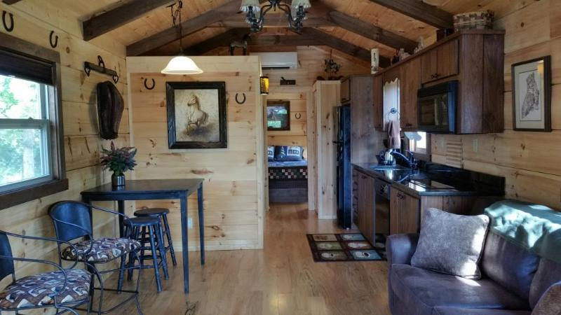 Heaven On Earth Cabin Living room.  40' Flat TV with pull out couch.  Full Kitchen with dishwasher.