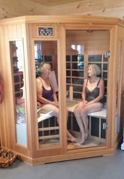 relaxing in the SaunaTek cedar sauna.