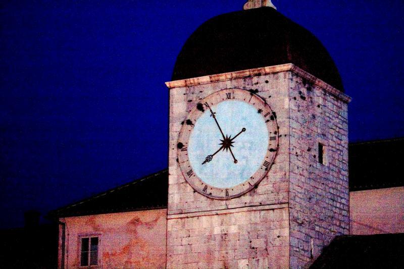 Clock tower at night, Trogir
