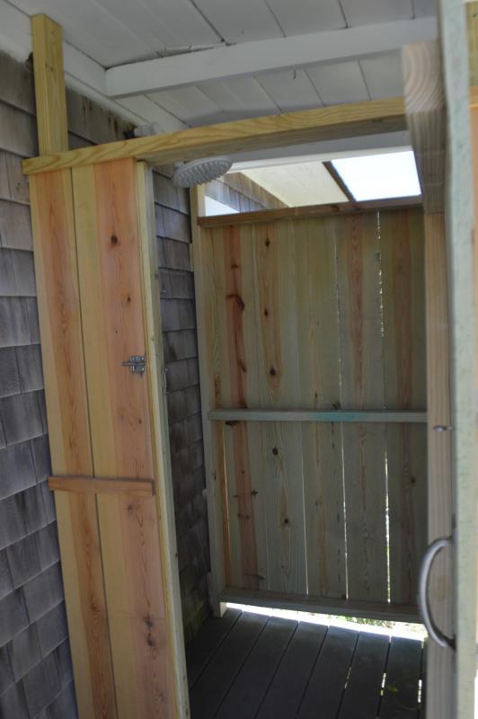 New outdoor rain shower Hot water.