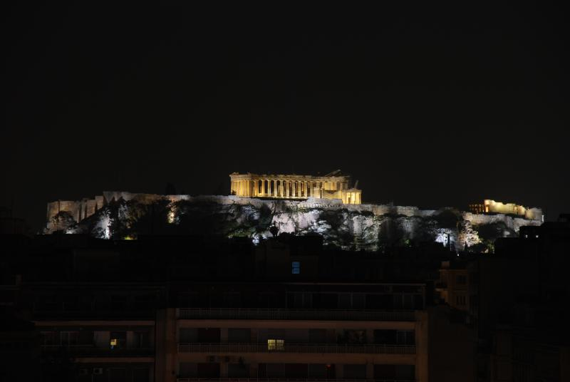 Acropolis at night from our Penthouse apartment