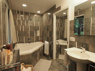 Sequoiatude, unique bathroom, tub and shower