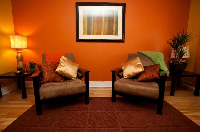 The colourful living room