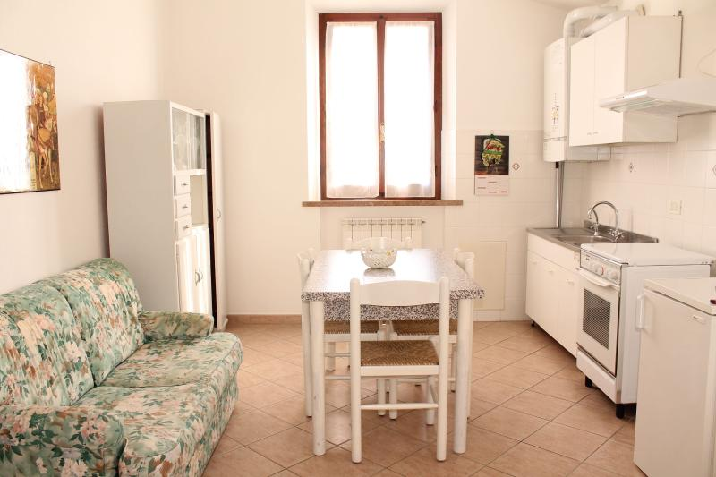 Bright and confortable: it's the living room with fully equipped kitchen.