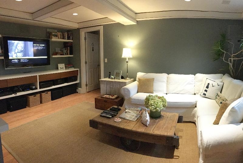 Media Room set with TV and projection screen