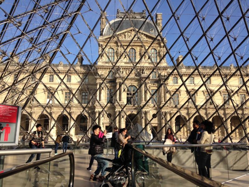 Louvre view through Pyramide
