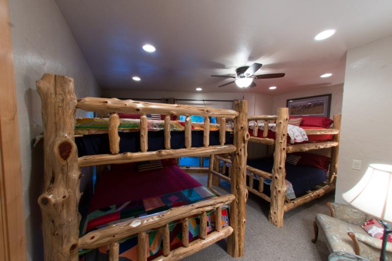 Bunk room w/two sets of solid cedar Amish-made queen-over-queen bunk beds will sleep up to eight