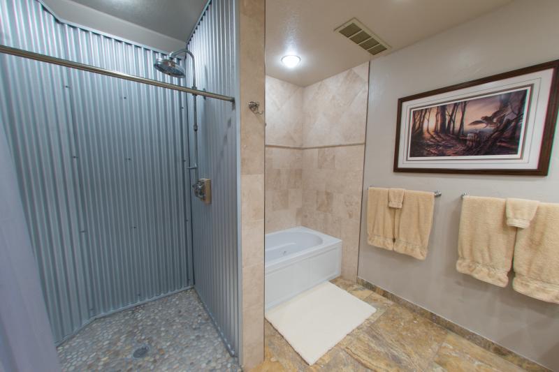 The shower is HUGE!