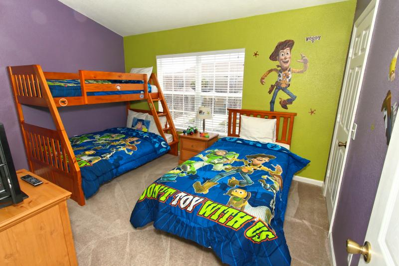 The kids will love our Toy Story Themed bedroom and bath room and bunk Beds!