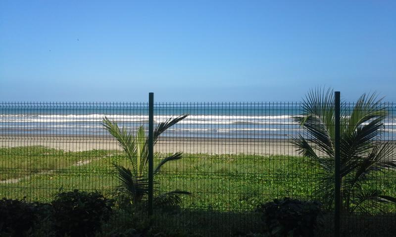 The beach from the condo property.