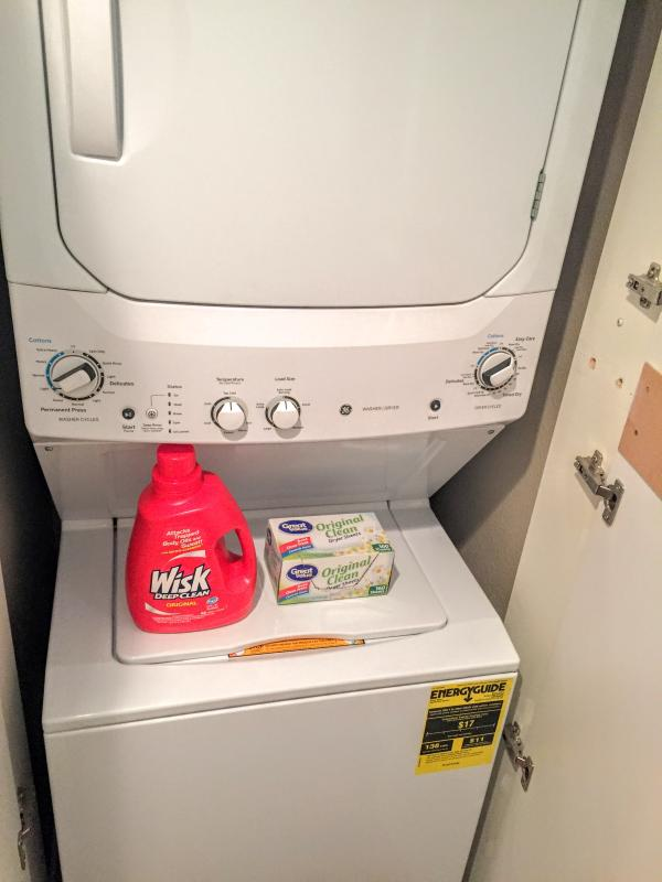 Washer and dryer with detergent provided.