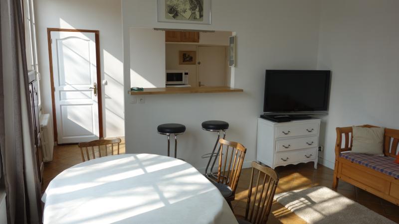 Le salon et la cuisine au fond
