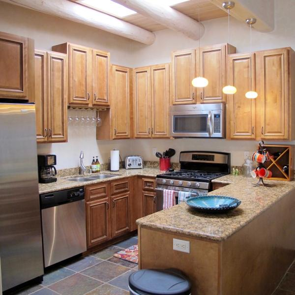 The fully equipped kitchen will please the most discriminating cook.