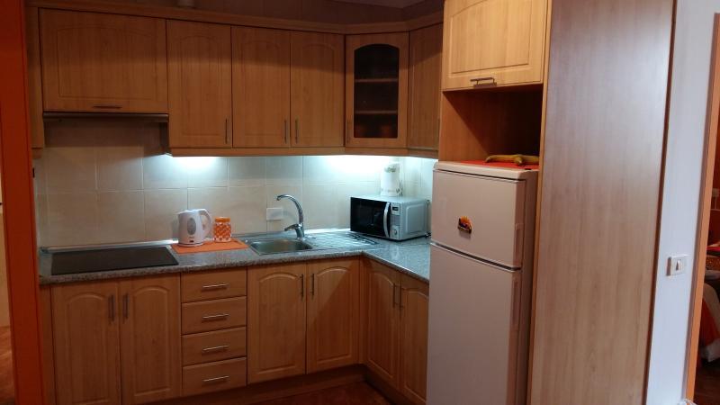 kitchen with fridge-freezer, microwave  toaster kettle etc