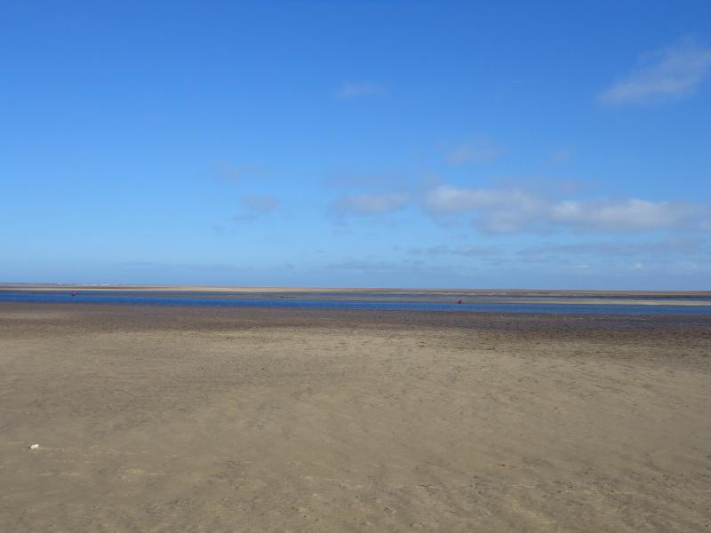 Wells beach with the tide out.