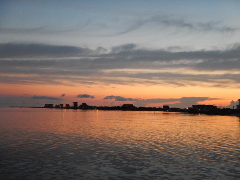 Dawn on the sound side. Heading out to go deep sea fishing.