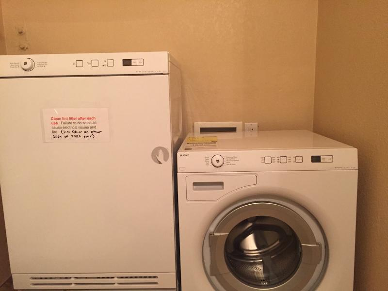 New HE Asko/Sub Zero washer and dryer in condo for laundry