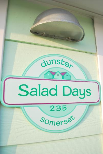 Sign outside at Salad Days Dunster