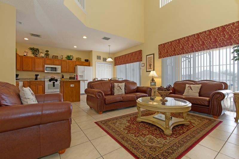 Family room and a view of the kitchen