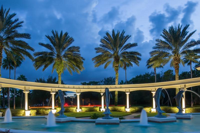 Resort dolphin entrance at night