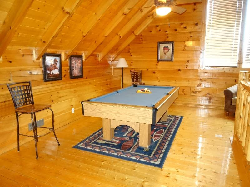 Pool Table in Loft above Living Room overlooking Kitchen and Dining Room