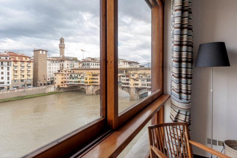 View from the bedroom: Ponte Vecchio on your right