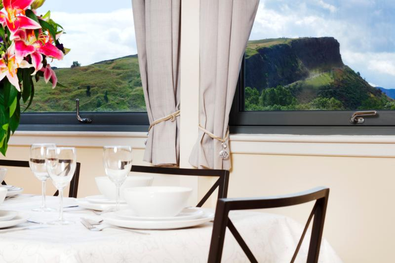 A view of an extinct volcano (Arthur's Seat / the Crags) for breakfast/dinner!
