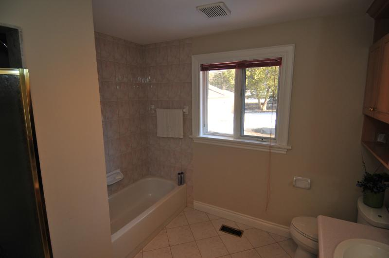 Upstairs bathroom with shower and tub.