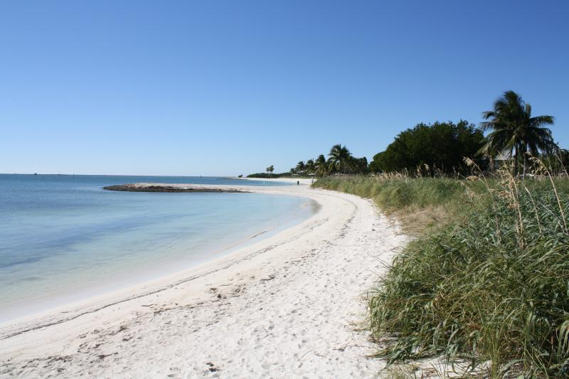 Probably the most beautiful beach in the Florida Keys is Sombrero Beach, about 11 miles