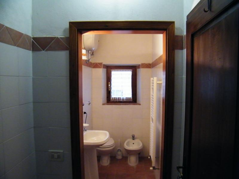 The bathroom with bidet and the hidden shower room (in the right side of the window). Amazing view.